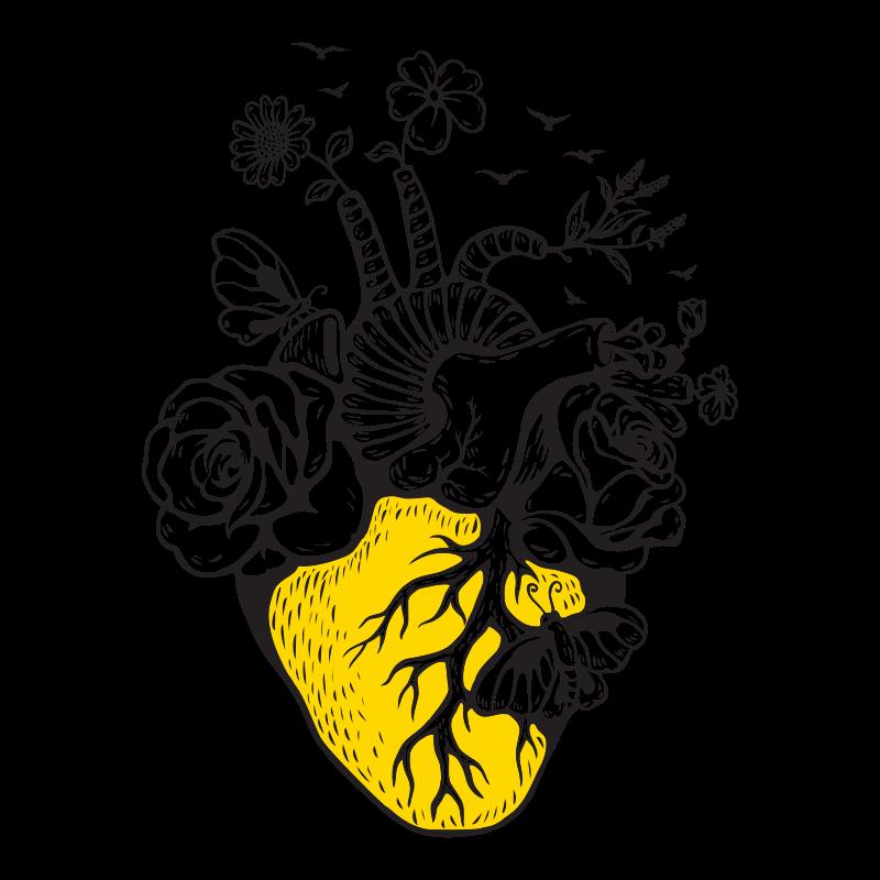 Ilustração complexa de um coração, flores, árvores, conchas e borboletas
